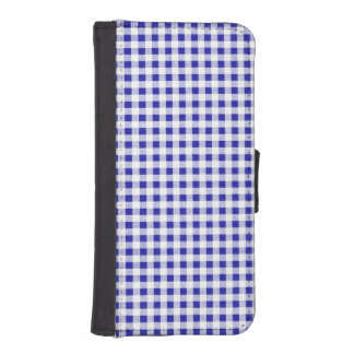 Navy Blue White Gingham Pattern iPhone 5 Wallet
