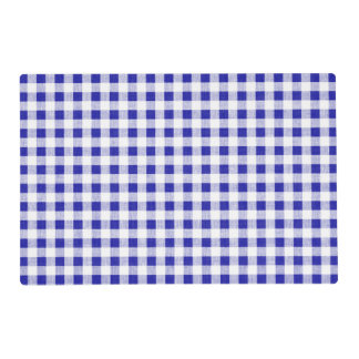 Navy Blue White Gingham Pattern Placemat
