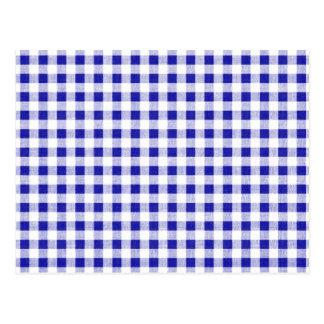 Navy Blue White Gingham Pattern Postcard