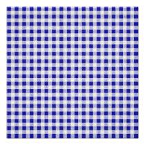 Navy Blue White Gingham Pattern Poster