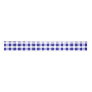 Navy Blue White Gingham Pattern Satin Ribbon