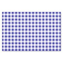 Navy Blue White Gingham Pattern Tissue Paper