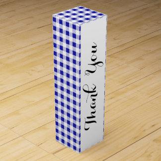 Navy Blue White Gingham Pattern Wine Box