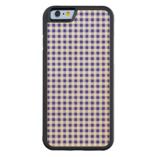 Navy Blue White Gingham Pattern Maple iPhone 6 Bumper Case