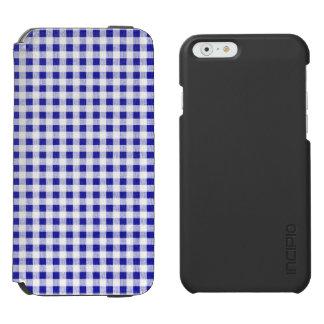 Navy Blue White Gingham Pattern Incipio Watson™ iPhone 6 Wallet Case