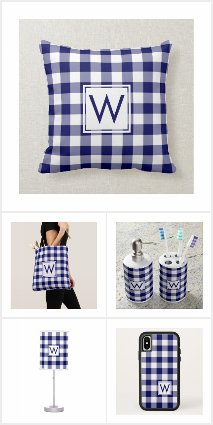 Navy Blue White Gingham Plaid Monogram Home Decor