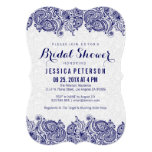 Navy Blue & White Girly Paisley Lace 5x7 Paper Invitation Card