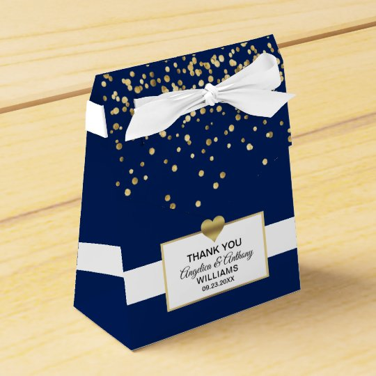 Navy Blue White Gold Heart Party Favor Wedding Box