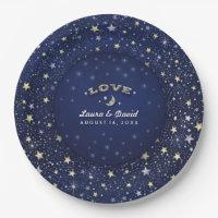 Navy Blue White & Gold LOVE Moon & Stars Wedding Paper Plate