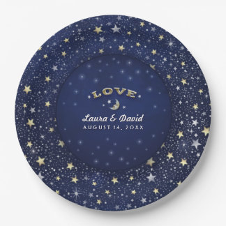 Navy Blue White & Gold LOVE Moon & Stars Wedding Paper Plate