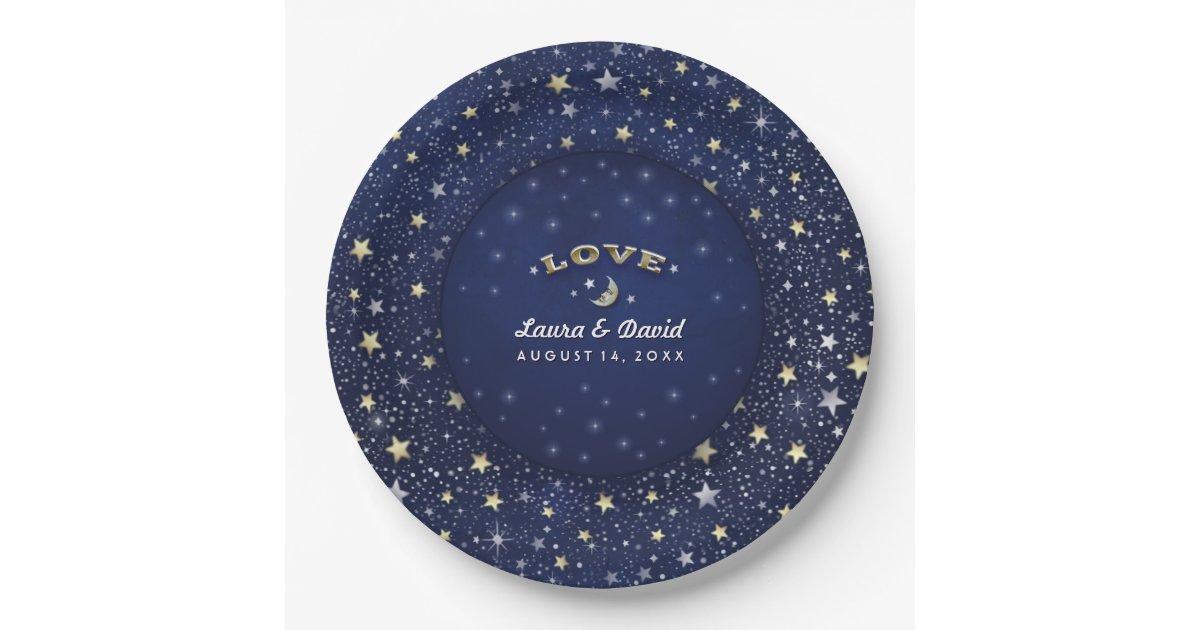 navy blue white gold love moon stars wedding paper plate. Black Bedroom Furniture Sets. Home Design Ideas