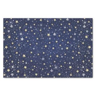 """Navy Blue White & Gold Stars 10"""" X 15"""" Tissue Paper"""