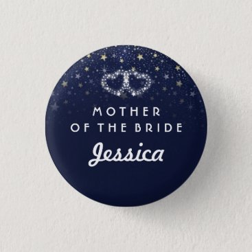 Valentines Themed Navy Blue White Gold Stars HEARTS Mother of Bride Pinback Button