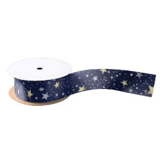 Navy Blue White & Gold Stars Matching Ribbon