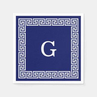Navy Blue White Greek Key #1 Framed Monogram Paper Napkin