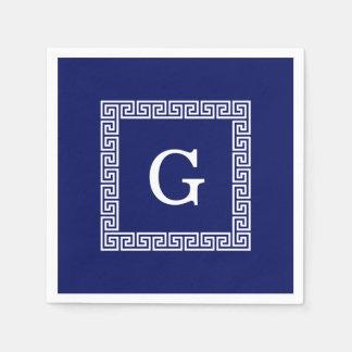 Navy Blue White Greek Key #1 Framed Monogram Paper Napkins