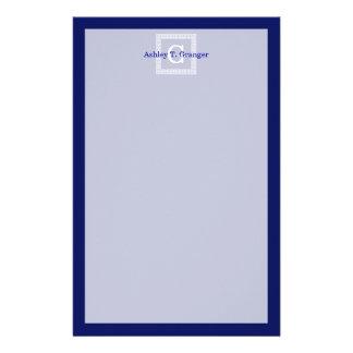 Navy Blue White Greek Key 1 Framed Monogram Stationery
