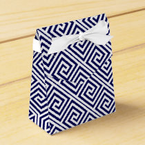 Navy blue, white Greek Key pattern wedding Favor Box