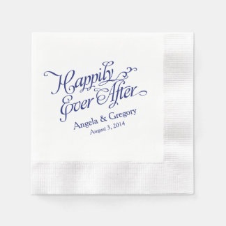 Navy Blue White Happily Ever After Wedding Coined Cocktail Napkin