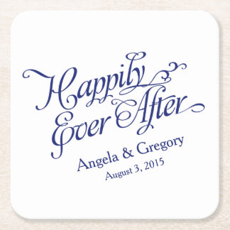 Navy Blue White Happily Ever After Wedding Square Paper Coaster