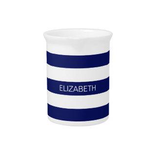 Navy Blue White Horiz Preppy Stripe #3 Monogram Beverage Pitcher