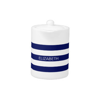 Navy Blue White Horiz Preppy Stripe #3 Monogram Teapot
