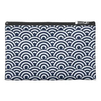 Navy Blue White Japanese Wave Pattern Travel Accessories Bag