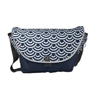 Navy Blue White Japanese Wave Pattern Messenger Bags