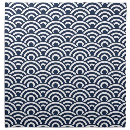 navy blue white japanese wave pattern napkin    Japanese Wave Pattern