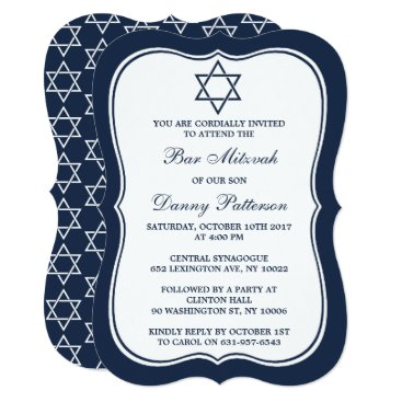 Beach Themed Navy Blue & White Jewish Star Of David Bar Mitzvah Card