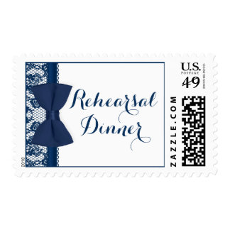 Navy Blue & White Lace Bow Rehearsal Dinner Postage