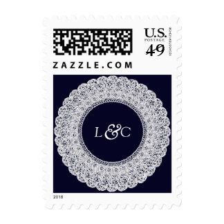 Navy blue & white lace custom postage stamp