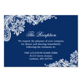 Navy Blue White Lace Wedding Information Details Card