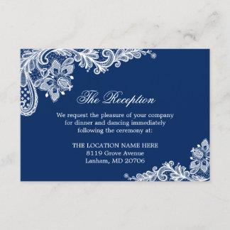 Navy Blue White Lace Wedding Information Details Enclosure Card