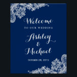"Navy Blue White Lace Wedding Reception Sign<br><div class=""desc"">================= ABOUT THIS DESIGN ================= Navy Blue White Lace Wedding Reception Sign Poster. (1) The default size is 8 x 10 inches, you can change it to any size. (2) You are able to Change the Navy Blue to ANY COLOR by clicking the &quot;Customize it&quot; button and setting the Background...</div>"