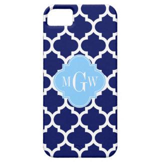 Navy Blue White LG Chevron Sky Blue Name Monogram iPhone SE/5/5s Case