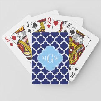 Navy Blue White LG Chevron Sky Blue Name Monogram Playing Cards