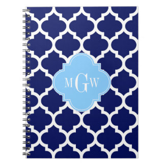 Navy Blue White LG Chevron Sky Blue Name Monogram Spiral Notebook