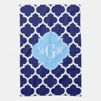 Navy Blue White LG Chevron Sky Blue Name Monogram Towel