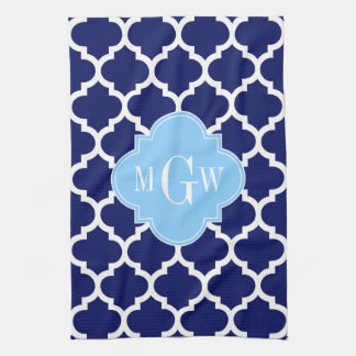 Navy Blue White LG Chevron Sky Blue Name Monogram Towel