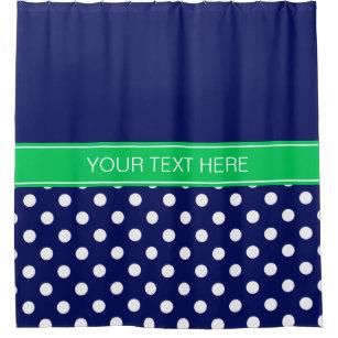 Navy Blue White LG Dot Em Green CB Name Monogram Shower Curtain