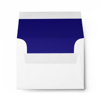 Navy Blue White Linen RSVP Envelopes