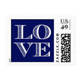Navy Blue White LOVE Postage Stamps small