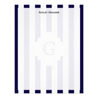 Navy Blue White Medium Stripe White Monogram Label Letterhead