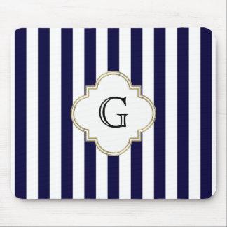 Navy Blue White Medium Stripe White Monogram Label Mouse Pad