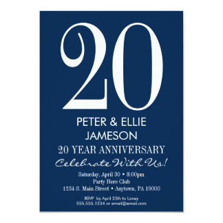 Navy Blue White Modern Anniversary Invitations