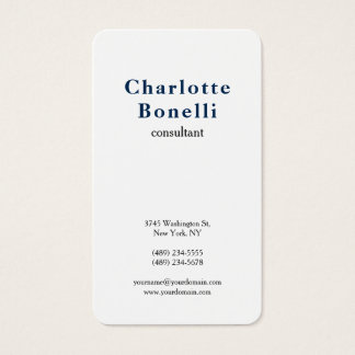 Navy Blue White Modern Minimalist Professional Business Card