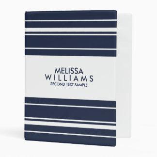 Navy Blue & White Modern Random Stripes Mini Binder