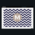 """Navy Blue White Monogram Chevron Pattern 17"""" Laptop Skins<br><div class=""""desc"""">Navy Blue White Monogram Chevron Pattern.  Note:  If you would like another color scheme/style or have any requests,  please contact me.</div>"""