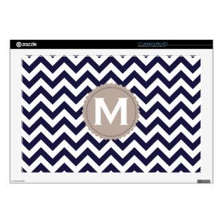 "Navy Blue White Monogram Chevron Pattern 17"" Laptop Skins"